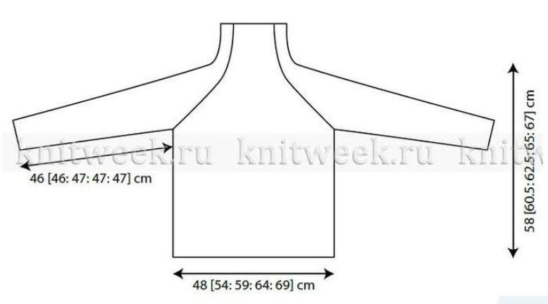 свитер реглан снизу спицами